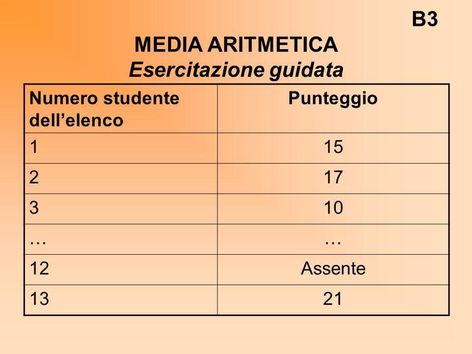 B3 MEDIA ARITMETICA Esercitazione guidata Numero studente dellelenco Punteggio 115 217 310 …… 12Assente 1321