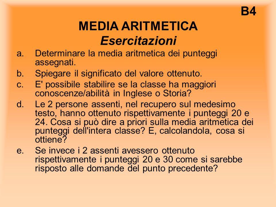 B4 MEDIA ARITMETICA Esercitazioni a.Determinare la media aritmetica dei punteggi assegnati.