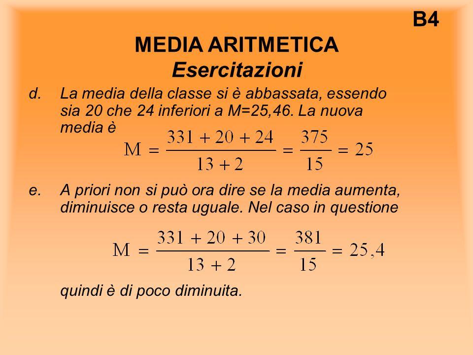 B4 MEDIA ARITMETICA Esercitazioni d.La media della classe si è abbassata, essendo sia 20 che 24 inferiori a M=25,46.