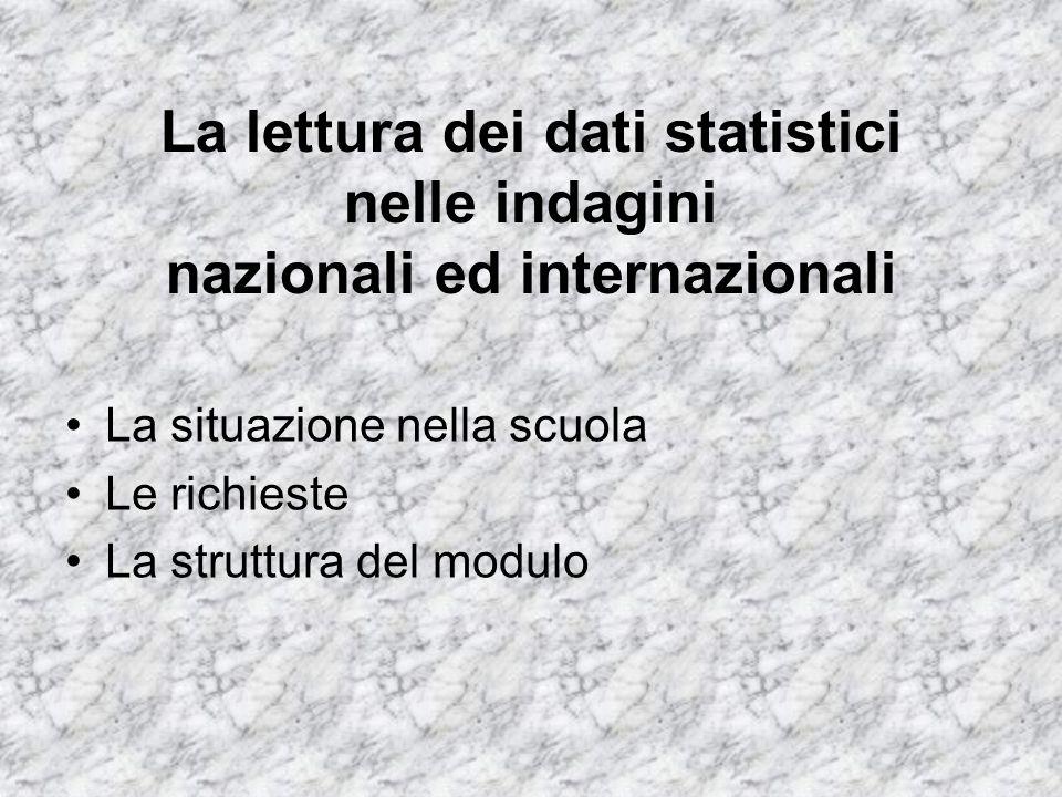 VALUTAZIONE DEI SISTEMI DI ISTRUZIONE: 1 o problema La statistica è fondamentale nella valutazione dei sistemi di istruzione.
