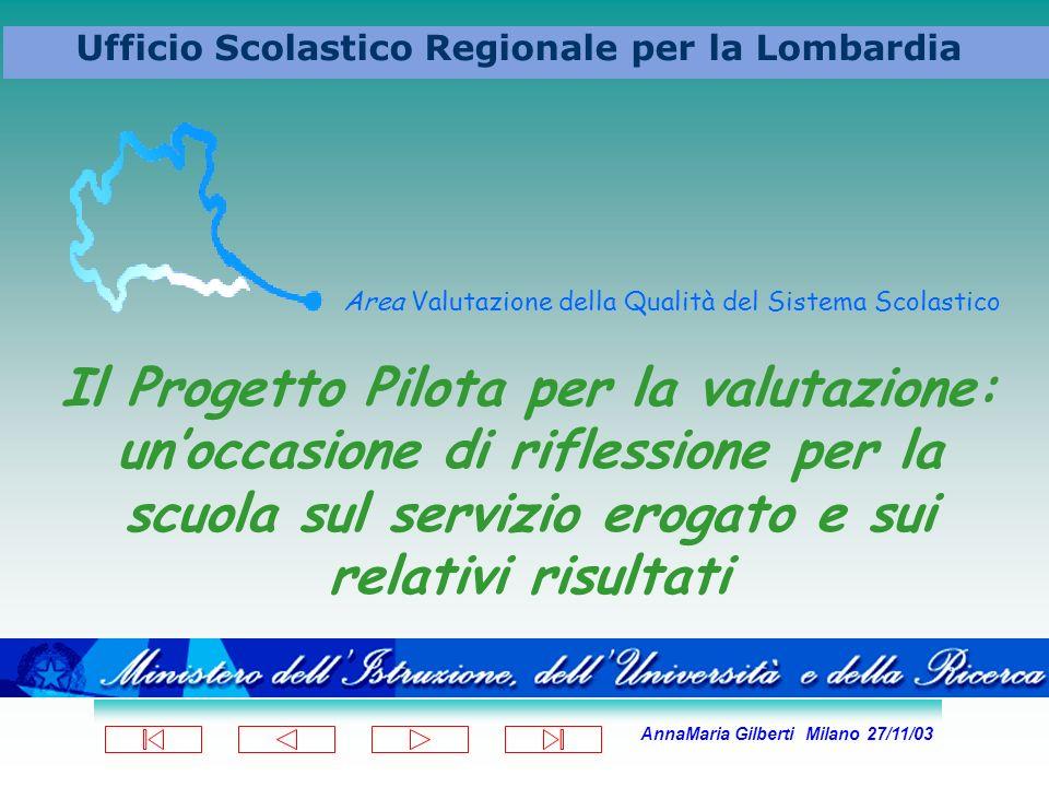 AnnaMaria Gilberti Milano 27/11/03 Ufficio Scolastico Regionale per la Lombardia Area Valutazione della Qualità del Sistema Scolastico Il Progetto Pil