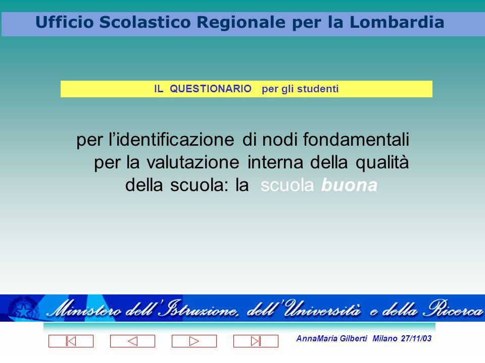 AnnaMaria Gilberti Milano 27/11/03 Ufficio Scolastico Regionale per la Lombardia per lidentificazione di nodi fondamentali per la valutazione interna