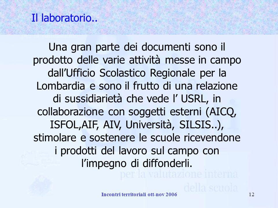 Incontri territoriali ott-nov 200612 Il laboratorio..