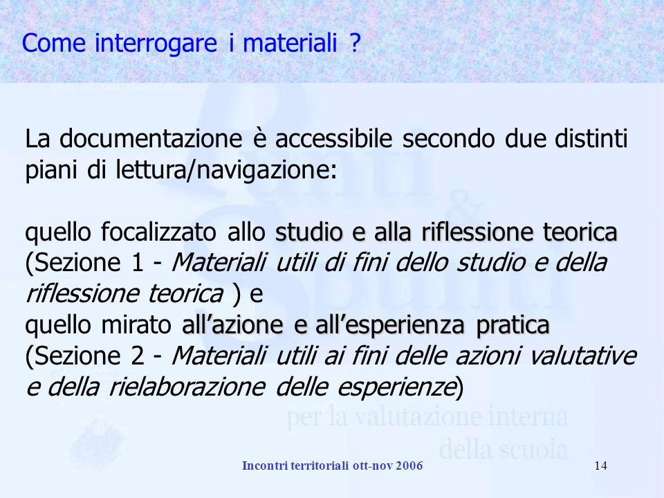 Incontri territoriali ott-nov 200614 Come interrogare i materiali .