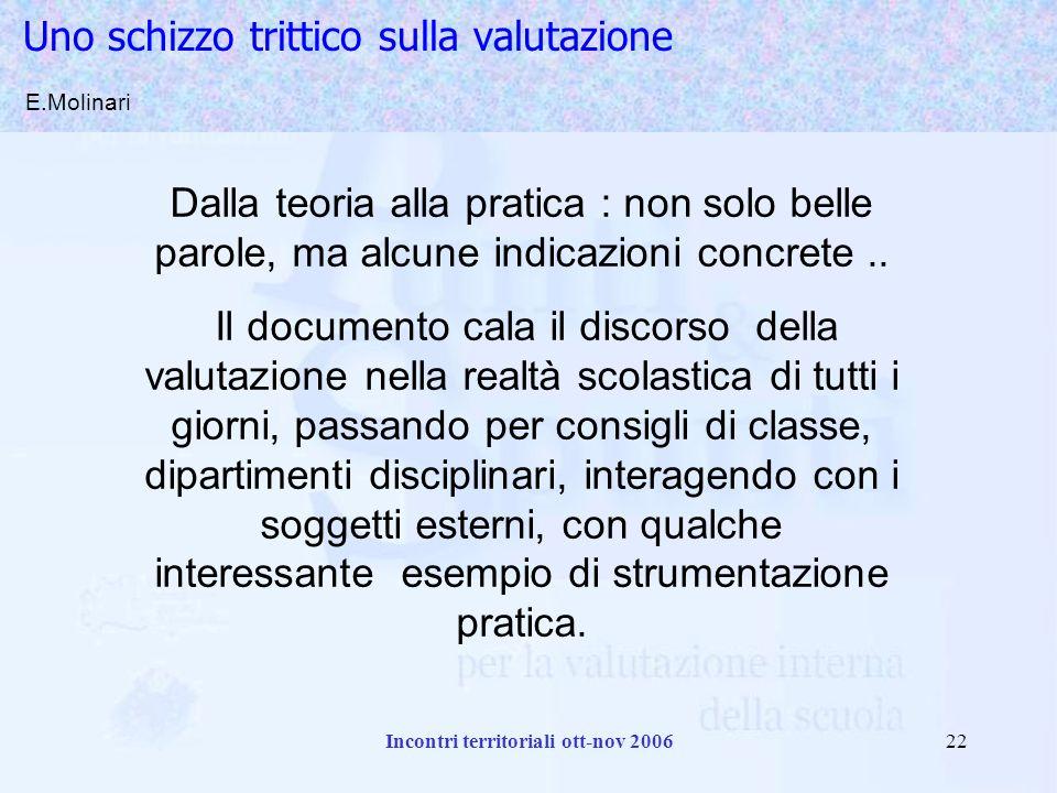 Incontri territoriali ott-nov 200622 Uno schizzo trittico sulla valutazione E.Molinari Dalla teoria alla pratica : non solo belle parole, ma alcune indicazioni concrete..