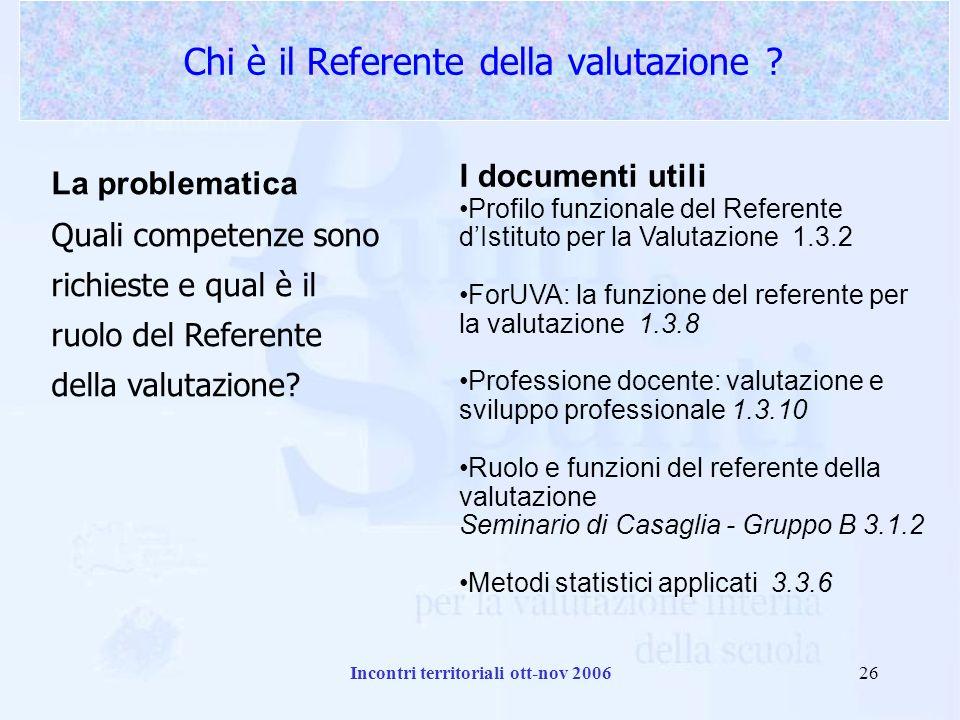 Incontri territoriali ott-nov 200626 Chi è il Referente della valutazione .