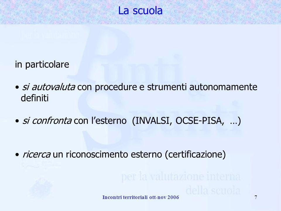 Incontri territoriali ott-nov 20067 in particolare si autovaluta con procedure e strumenti autonomamente definiti si confronta con lesterno (INVALSI, OCSE-PISA, …) ricerca un riconoscimento esterno (certificazione) La scuola