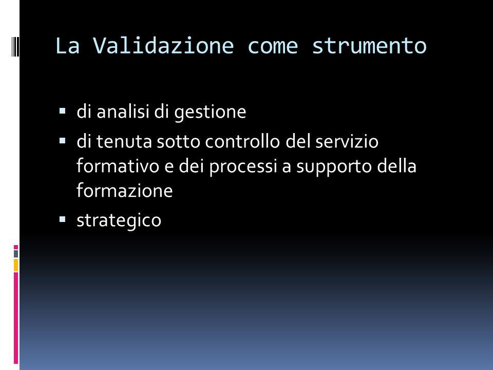 La Validazione come strumento di analisi di gestione di tenuta sotto controllo del servizio formativo e dei processi a supporto della formazione strategico