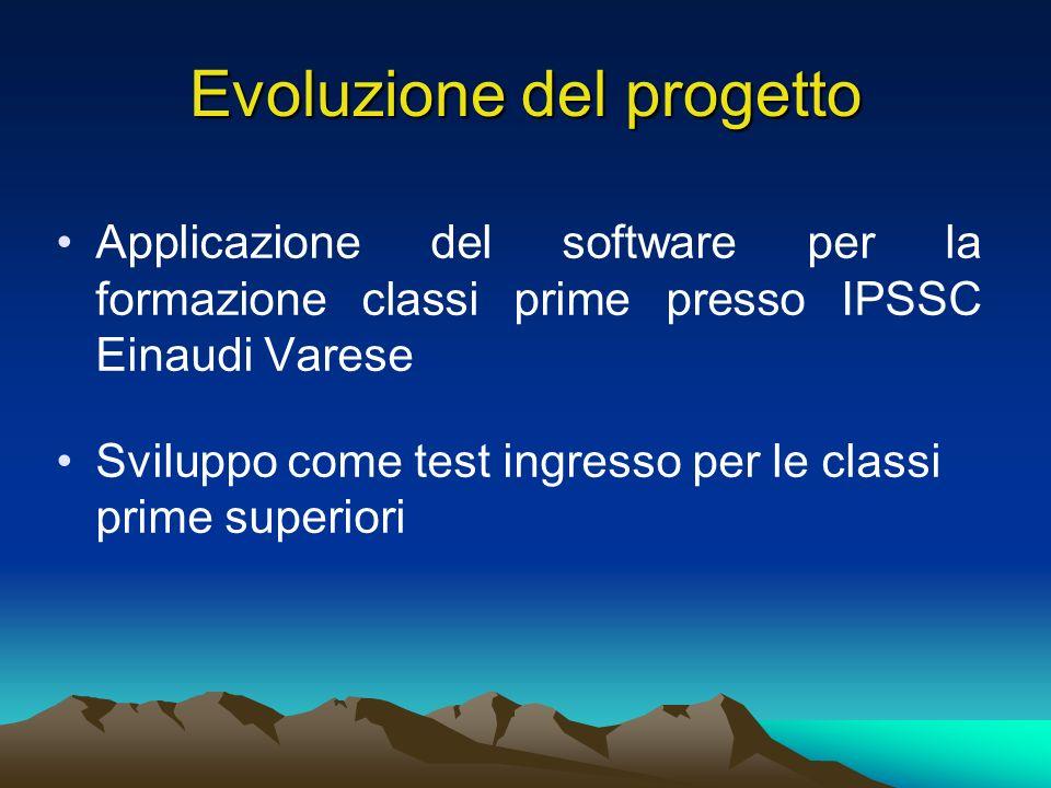 Evoluzione del progetto Applicazione del software per la formazione classi prime presso IPSSC Einaudi Varese Sviluppo come test ingresso per le classi prime superiori