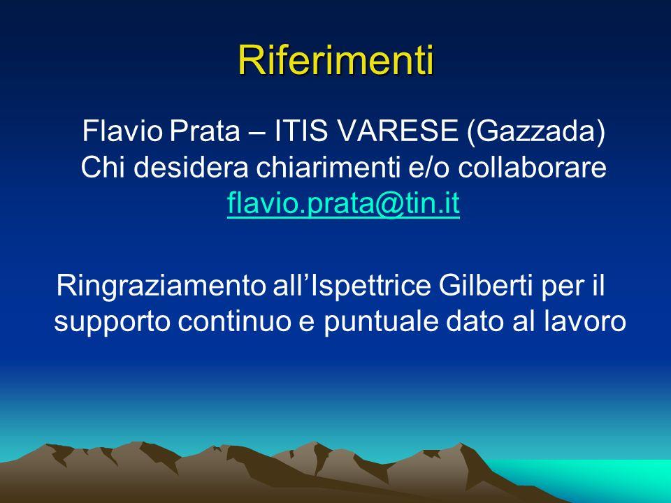 Riferimenti Flavio Prata – ITIS VARESE (Gazzada) Chi desidera chiarimenti e/o collaborare flavio.prata@tin.it Ringraziamento allIspettrice Gilberti per il supporto continuo e puntuale dato al lavoro