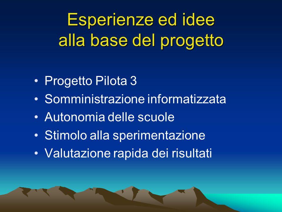 Esperienze ed idee alla base del progetto Progetto Pilota 3 Somministrazione informatizzata Autonomia delle scuole Stimolo alla sperimentazione Valutazione rapida dei risultati