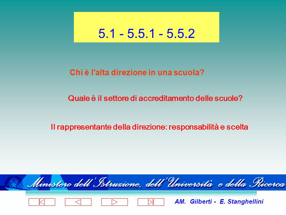 AM. Gilberti - E. Stanghellini 5.1 - 5.5.1 - 5.5.2 Chi è l'alta direzione in una scuola? Quale è il settore di accreditamento delle scuole? Il rappres