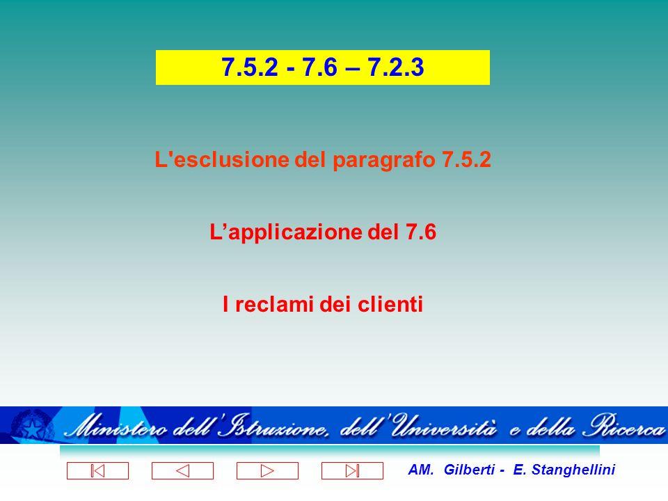 AM. Gilberti - E. Stanghellini L'esclusione del paragrafo 7.5.2 Lapplicazione del 7.6 I reclami dei clienti 7.5.2 - 7.6 – 7.2.3