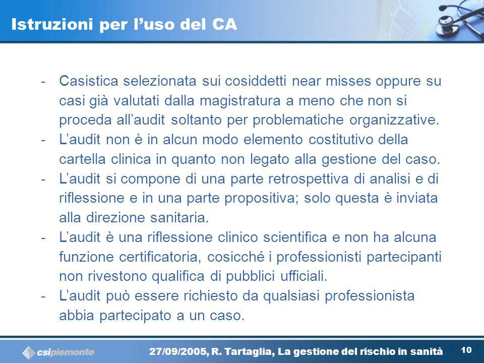 99 27/09/2005, R. Tartaglia, La gestione del rischio in sanità Il sistema GRC Identificazione dei rischi Clinical Audit M&M review Incidents reporting