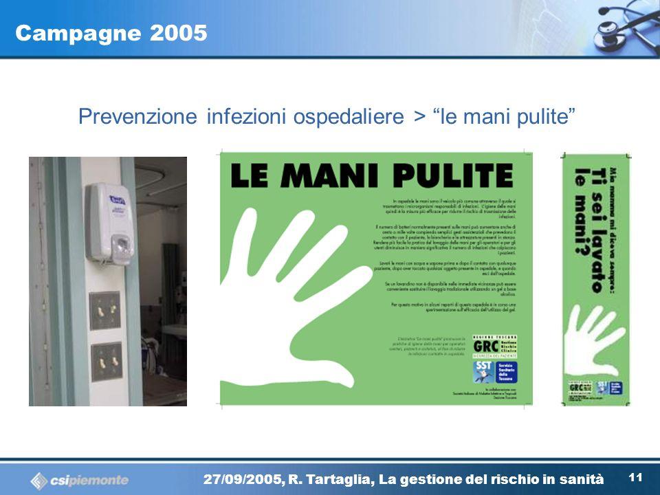 10 27/09/2005, R. Tartaglia, La gestione del rischio in sanità Istruzioni per luso del CA -Casistica selezionata sui cosiddetti near misses oppure su