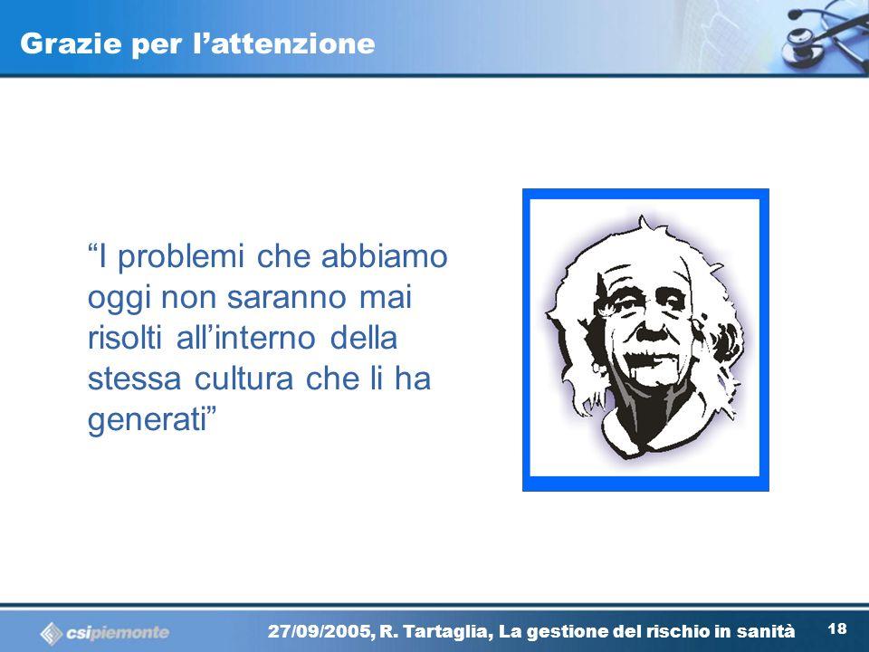 17 27/09/2005, R. Tartaglia, La gestione del rischio in sanità Considerazioni finali I professionisti della sanità sentono il bisogno di cambiamento L