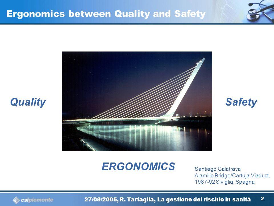 11 27/09/2005, R. Tartaglia, La gestione del rischio in sanità The Ergonomics (or Human Factor) 27/09/2005, R. Tartaglia, La gestione del rischio in s