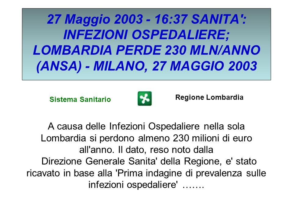 27 Maggio 2003 - 16:37 SANITA': INFEZIONI OSPEDALIERE; LOMBARDIA PERDE 230 MLN/ANNO (ANSA) - MILANO, 27 MAGGIO 2003 A causa delle Infezioni Ospedalier