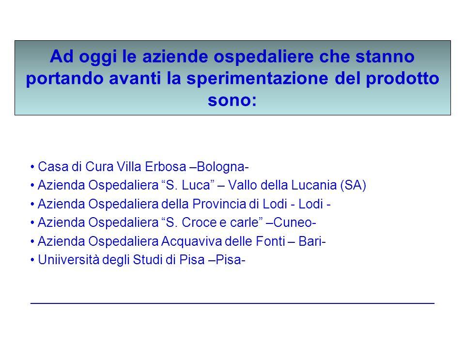 Ad oggi le aziende ospedaliere che stanno portando avanti la sperimentazione del prodotto sono: Casa di Cura Villa Erbosa –Bologna- Azienda Ospedalier