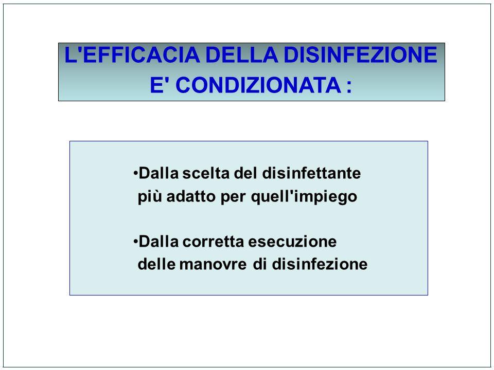 L'EFFICACIA DELLA DISINFEZIONE E' CONDIZIONATA : Dalla scelta del disinfettante più adatto per quell'impiego Dalla corretta esecuzione delle manovre d