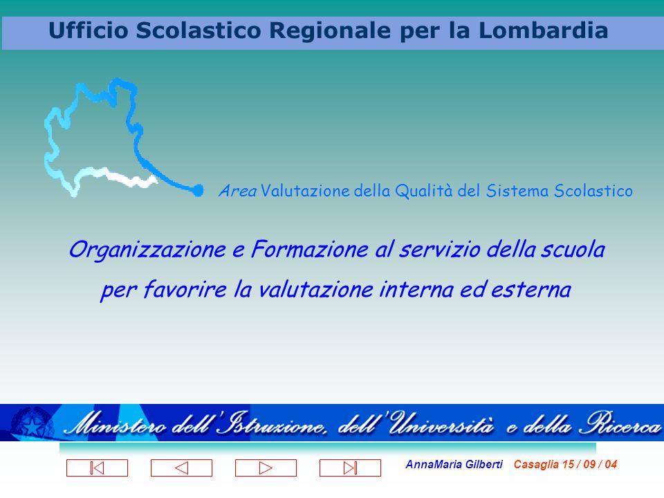 AnnaMaria Gilberti Casaglia 15 / 09 / 04 Ufficio Scolastico Regionale per la Lombardia Area Valutazione della Qualità del Sistema Scolastico Organizza
