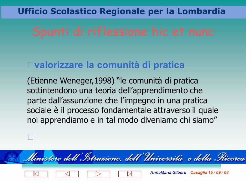 AnnaMaria Gilberti Casaglia 15 / 09 / 04 Ufficio Scolastico Regionale per la Lombardia valorizzare la comunità di pratica (Etienne Weneger,1998) le co
