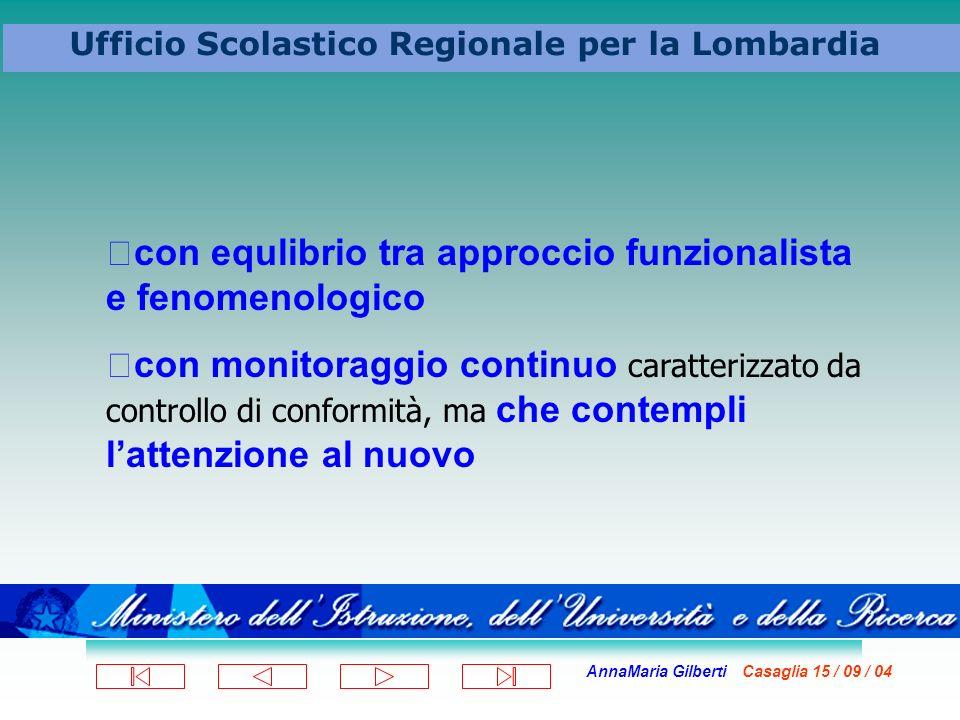 AnnaMaria Gilberti Casaglia 15 / 09 / 04 Ufficio Scolastico Regionale per la Lombardia con equlibrio tra approccio funzionalista e fenomenologico con