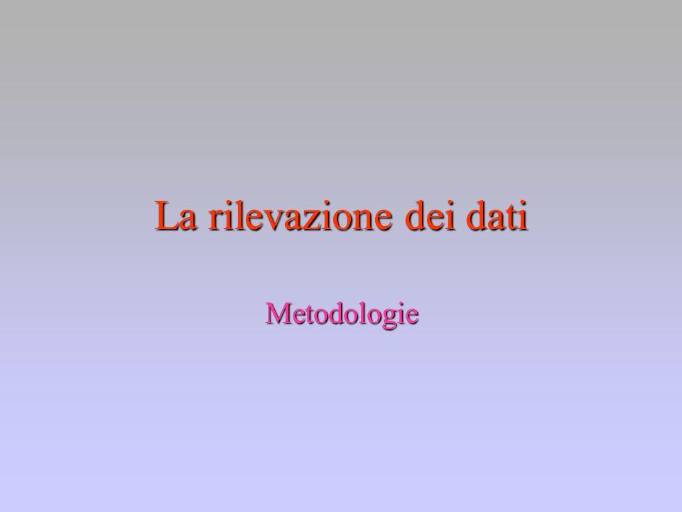 La rilevazione dei dati Metodologie