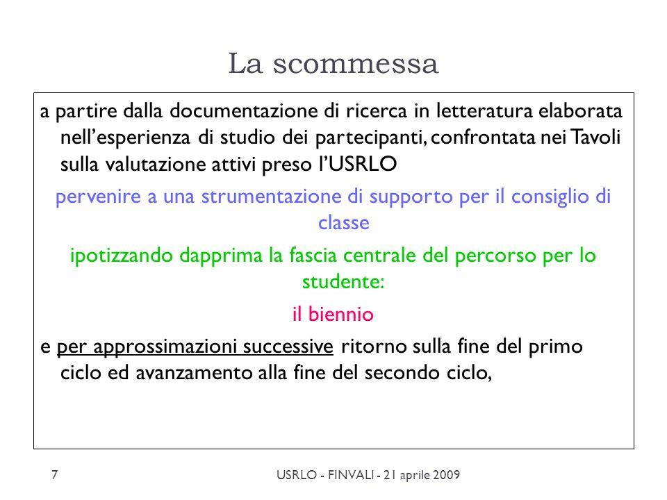 FINVALI - 21 aprile 2009 Ufficio Scolastico Regionale per la Lombardia Servizio per la Valutazione La validazione delle prove La valutazione Mappa criteriale