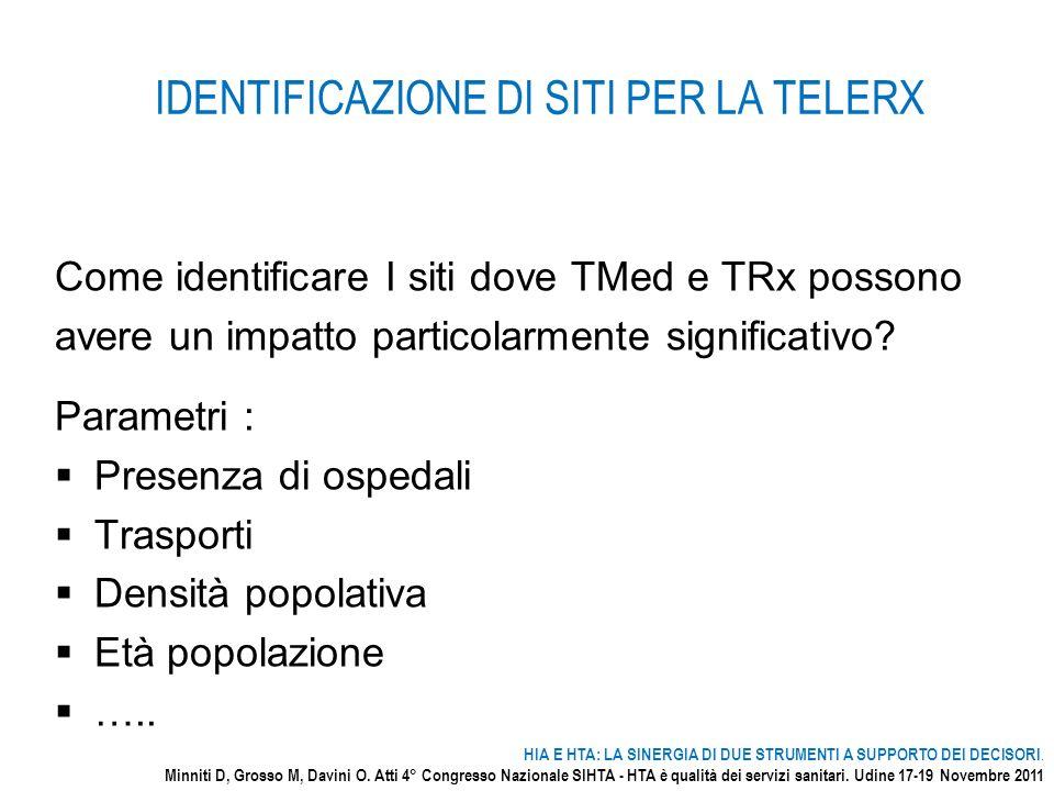 IDENTIFICAZIONE DI SITI PER LA TELERX Come identificare I siti dove TMed e TRx possono avere un impatto particolarmente significativo? Parametri : Pre