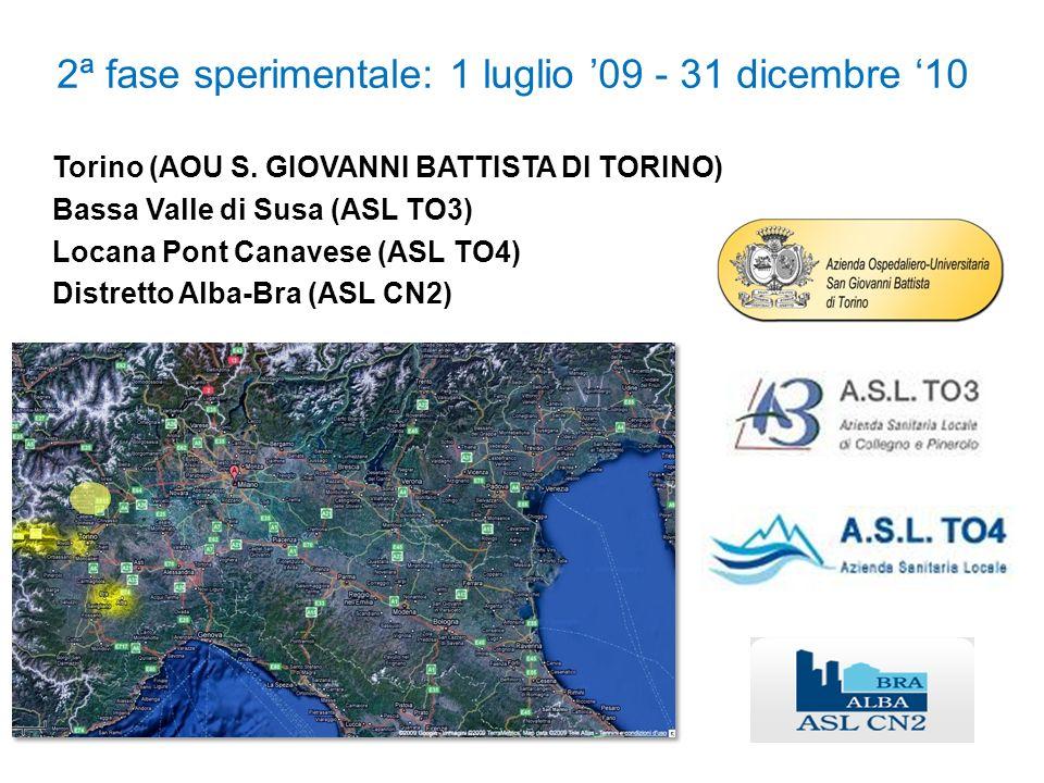 2ª fase sperimentale: 1 luglio 09 - 31 dicembre 10 Torino (AOU S. GIOVANNI BATTISTA DI TORINO) Bassa Valle di Susa (ASL TO3) Locana Pont Canavese (ASL