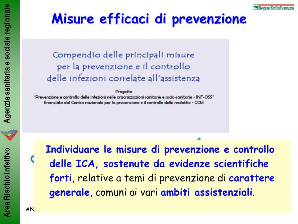 Agenzia sanitaria e sociale regionale Area Rischio infettivo ANMDO, Bologna 8-11/6/2011ML Moro Misure efficaci di prevenzione Individuare le misure di