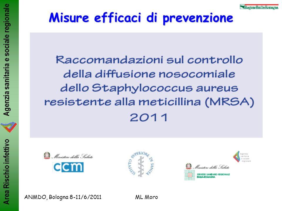 Agenzia sanitaria e sociale regionale Area Rischio infettivo ANMDO, Bologna 8-11/6/2011ML Moro Misure efficaci di prevenzione