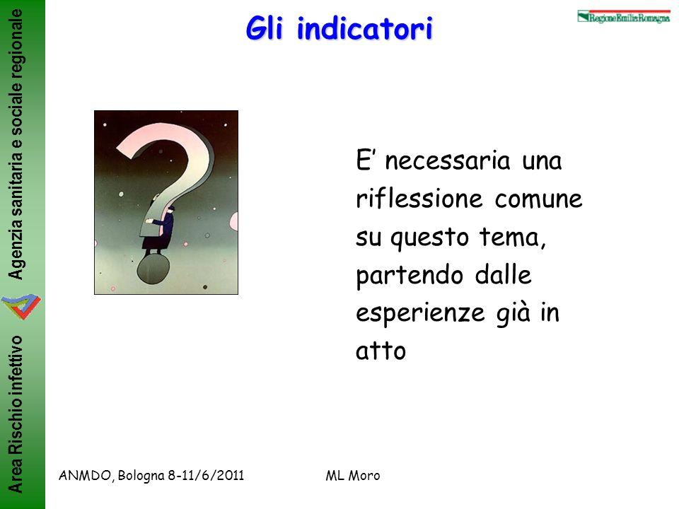 Agenzia sanitaria e sociale regionale Area Rischio infettivo ANMDO, Bologna 8-11/6/2011ML Moro Gli indicatori E necessaria una riflessione comune su q