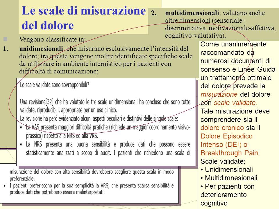 Le scale di misurazione del dolore Come unanimemente raccomandato da numerosi documenti di consenso e Linee Guida un trattamento ottimale del dolore p