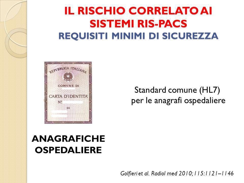 IL RISCHIO CORRELATO AI SISTEMI RIS-PACS REQUISITI MINIMI DI SICUREZZA ANAGRAFICHE OSPEDALIERE Standard comune (HL7) per le anagrafi ospedaliere Golfieri et al.