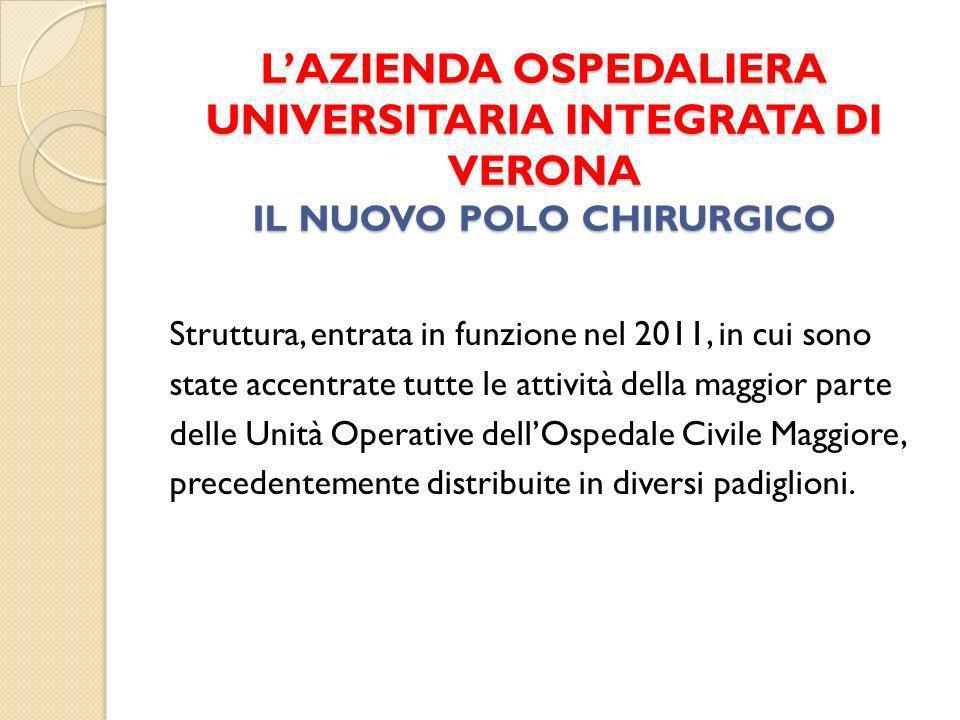 LAZIENDA OSPEDALIERA UNIVERSITARIA INTEGRATA DI VERONA IL NUOVO POLO CHIRURGICO Struttura, entrata in funzione nel 2011, in cui sono state accentrate