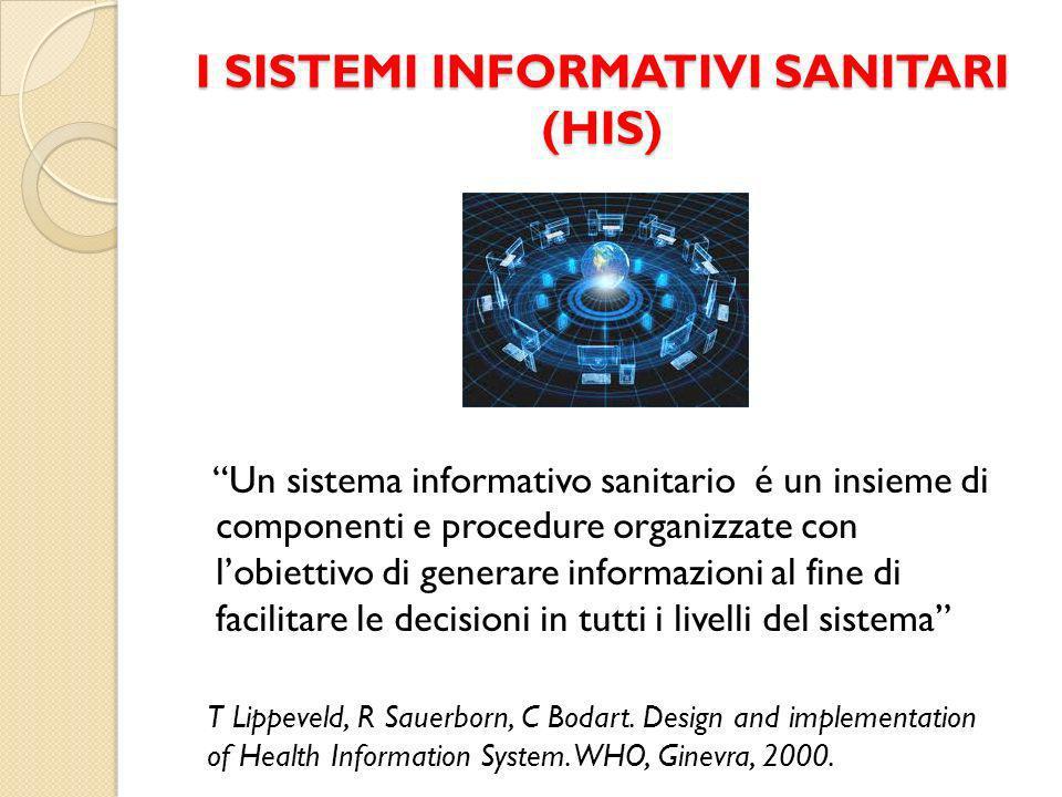 I SISTEMI INFORMATIVI SANITARI (HIS) Un sistema informativo sanitario é un insieme di componenti e procedure organizzate con lobiettivo di generare informazioni al fine di facilitare le decisioni in tutti i livelli del sistema T Lippeveld, R Sauerborn, C Bodart.