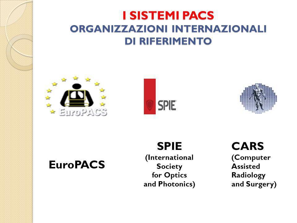 I SISTEMI PACS ORGANIZZAZIONI INTERNAZIONALI DI RIFERIMENTO EuroPACS SPIE (International Society for Optics and Photonics) CARS (Computer Assisted Radiology and Surgery)