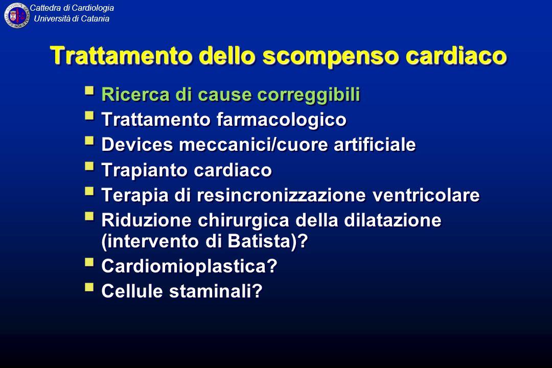 Cattedra di Cardiologia Università di Catania Trattamento dello scompenso cardiaco Ricerca di cause correggibili Trattamento farmacologico Devices mec