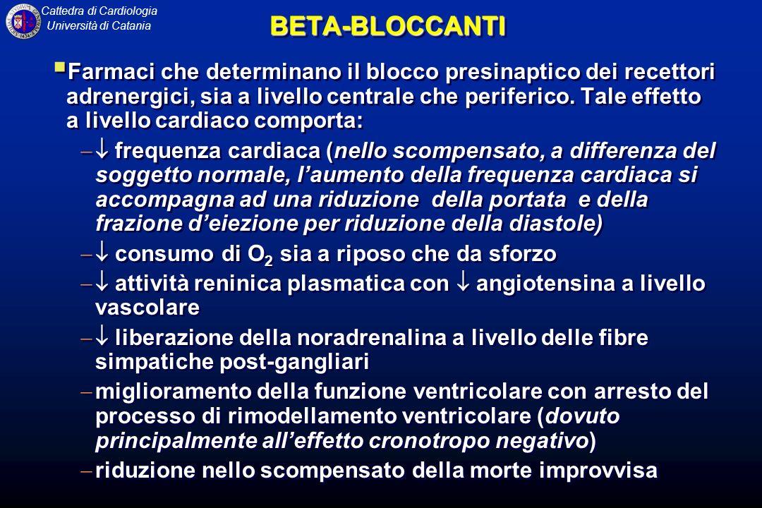 Cattedra di Cardiologia Università di CataniaBETA-BLOCCANTIBETA-BLOCCANTI Farmaci che determinano il blocco presinaptico dei recettori adrenergici, sia a livello centrale che periferico.