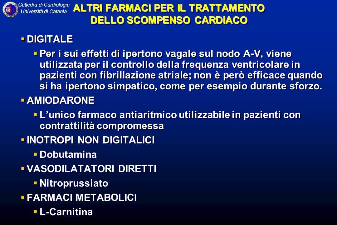 Cattedra di Cardiologia Università di Catania ALTRI FARMACI PER IL TRATTAMENTO DELLO SCOMPENSO CARDIACO DIGITALE Per i sui effetti di ipertono vagale sul nodo A-V, viene utilizzata per il controllo della frequenza ventricolare in pazienti con fibrillazione atriale; non è però efficace quando si ha ipertono simpatico, come per esempio durante sforzo.