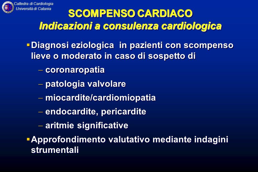 Cattedra di Cardiologia Università di Catania Diagnosi eziologica in pazienti con scompenso lieve o moderato in caso di sospetto di coronaropatia pato