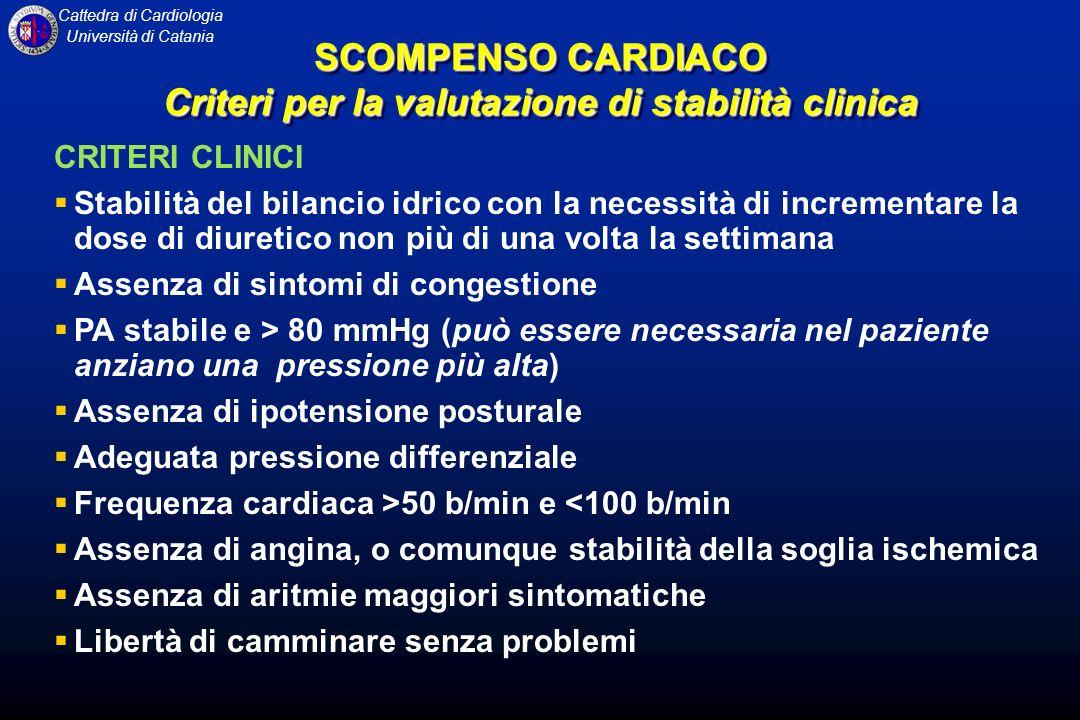 Cattedra di Cardiologia Università di Catania CRITERI CLINICI Stabilità del bilancio idrico con la necessità di incrementare la dose di diuretico non