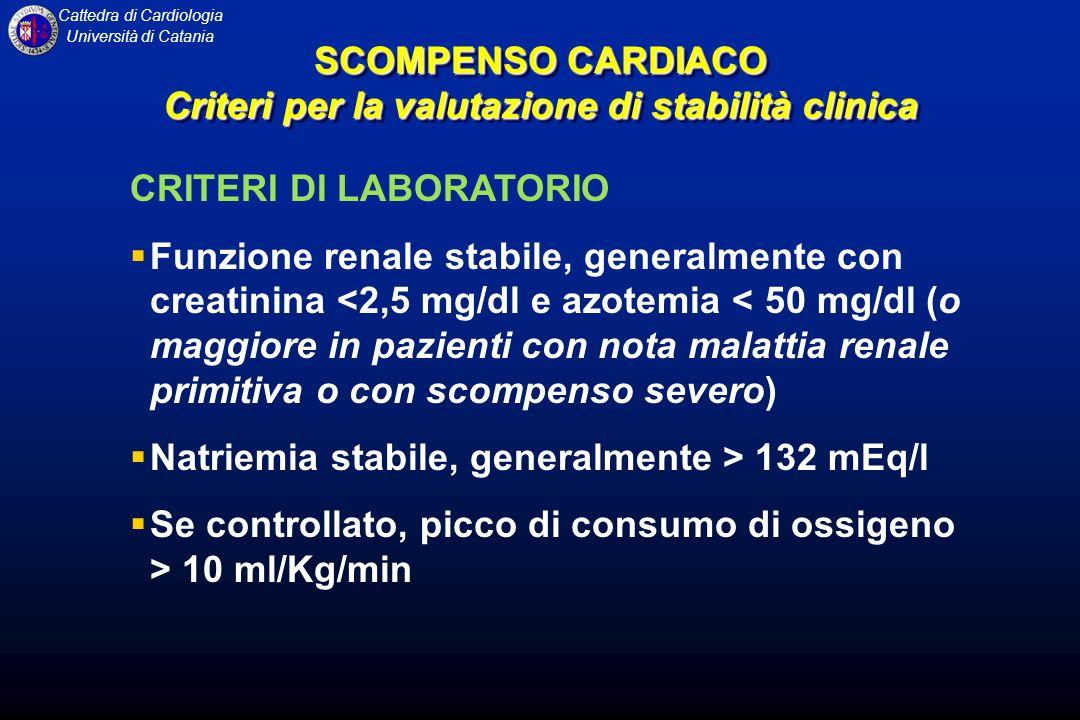 Cattedra di Cardiologia Università di Catania CRITERI DI LABORATORIO Funzione renale stabile, generalmente con creatinina <2,5 mg/dl e azotemia < 50 m