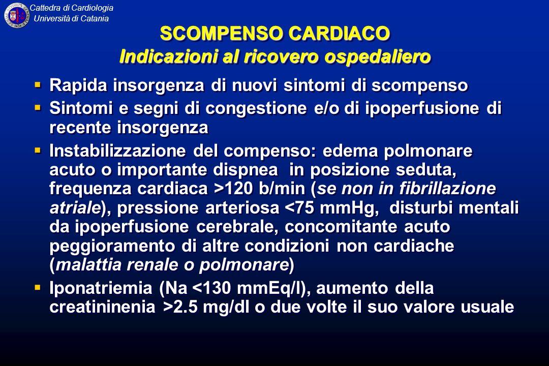 Cattedra di Cardiologia Università di Catania Rapida insorgenza di nuovi sintomi di scompenso Sintomi e segni di congestione e/o di ipoperfusione di r