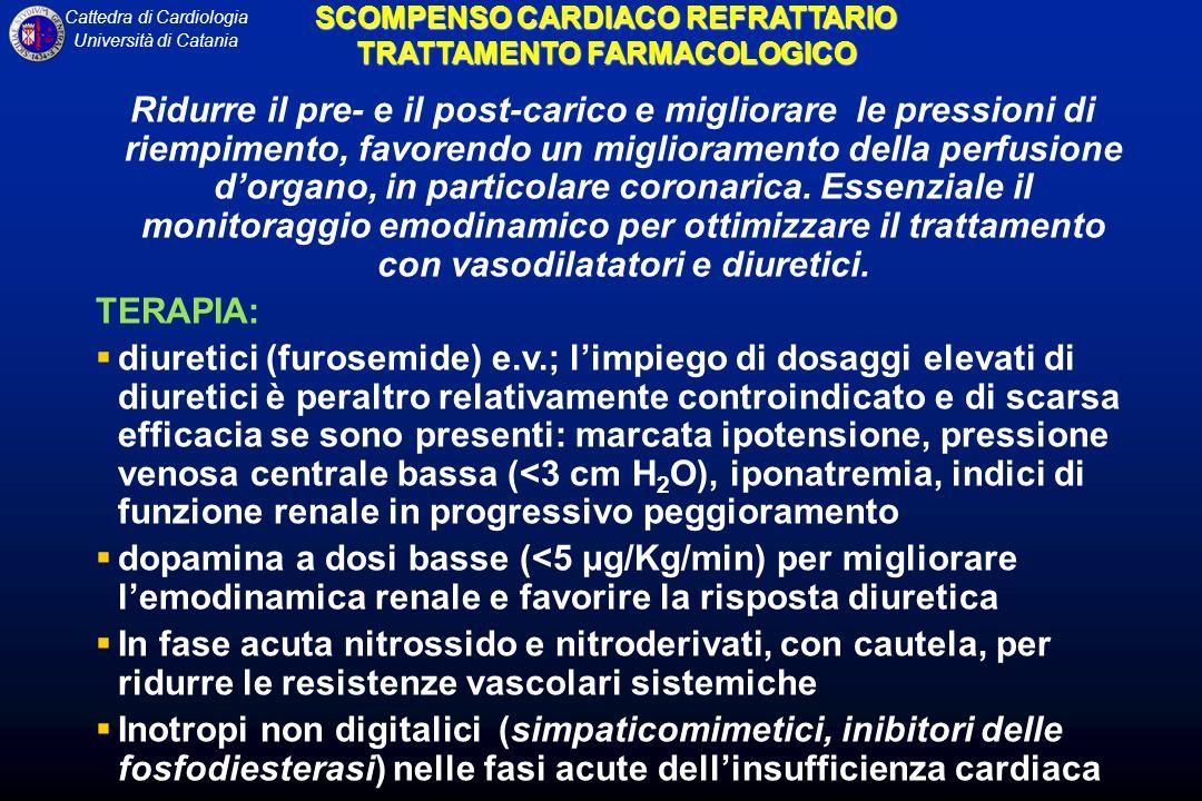 Cattedra di Cardiologia Università di Catania SCOMPENSO CARDIACO REFRATTARIO TRATTAMENTO FARMACOLOGICO Ridurre il pre- e il post-carico e migliorare le pressioni di riempimento, favorendo un miglioramento della perfusione dorgano, in particolare coronarica.