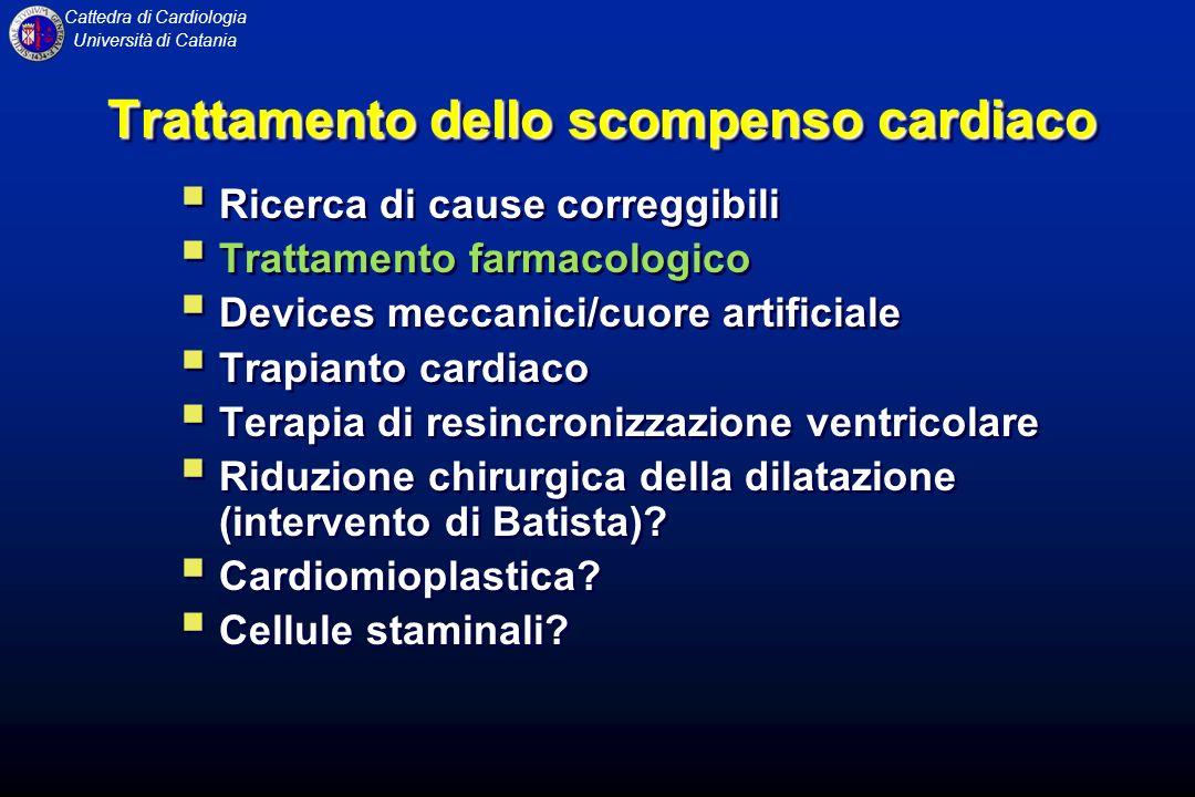 Cattedra di Cardiologia Università di Catania TERAPIA FARMACOLOGICA DELLO SCOMPENSO CARDIACO Negli ultimi anni la terapia farmacologica dello scompenso cardiaco si è evoluta rapidamente, permettendo una significativa riduzione di mortalità e morbilità.