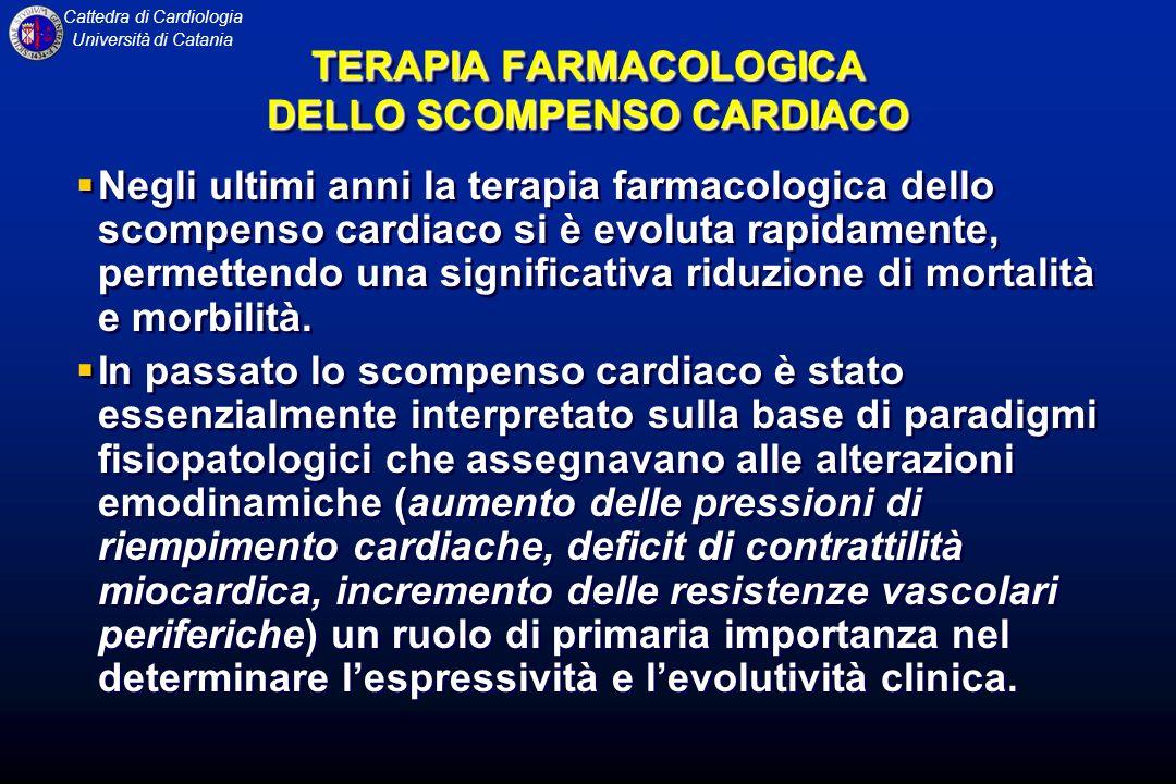 Cattedra di Cardiologia Università di Catania TERAPIA FARMACOLOGICA DELLO SCOMPENSO CARDIACO Negli ultimi anni la terapia farmacologica dello scompens
