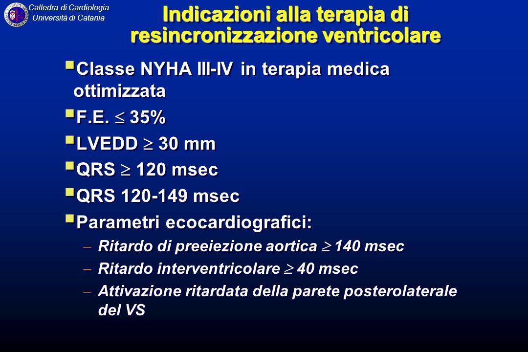 Cattedra di Cardiologia Università di Catania Indicazioni alla terapia di resincronizzazione ventricolare Classe NYHA III-IV in terapia medica ottimiz